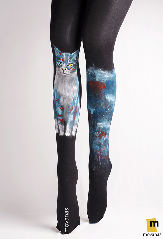 Hand-painted Tights | Blue Cat