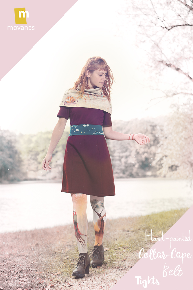Hand-painted Collar-Cape and Belt and Tights