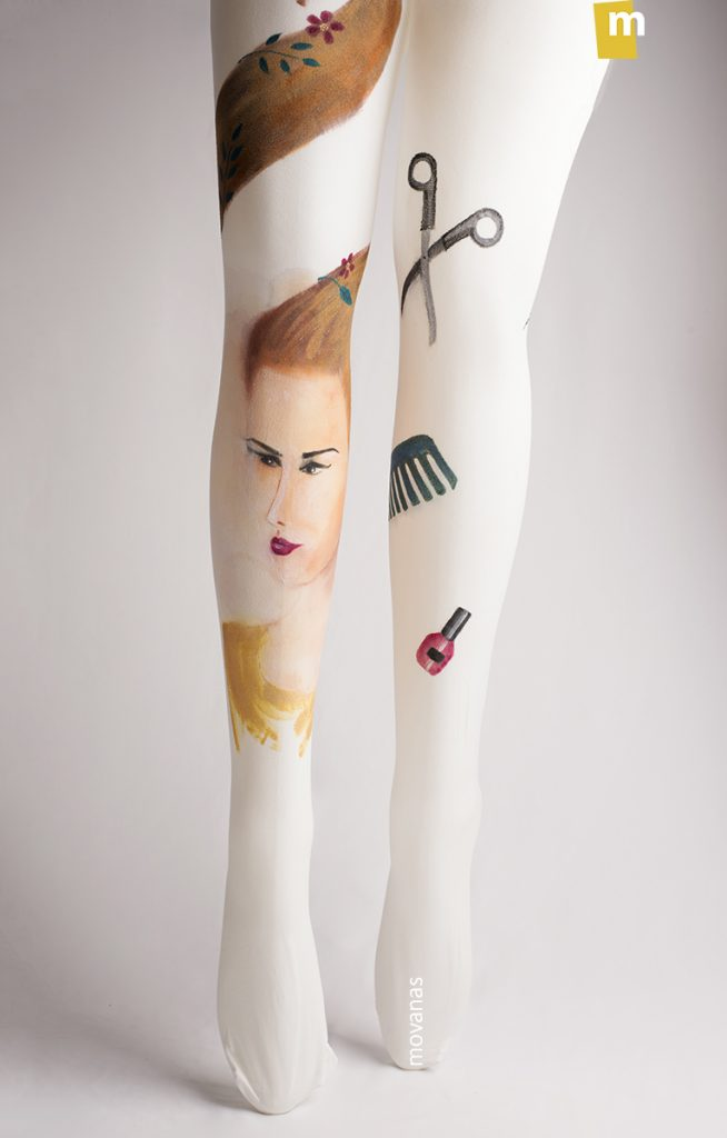 Hair Salloon Handpainted Tights