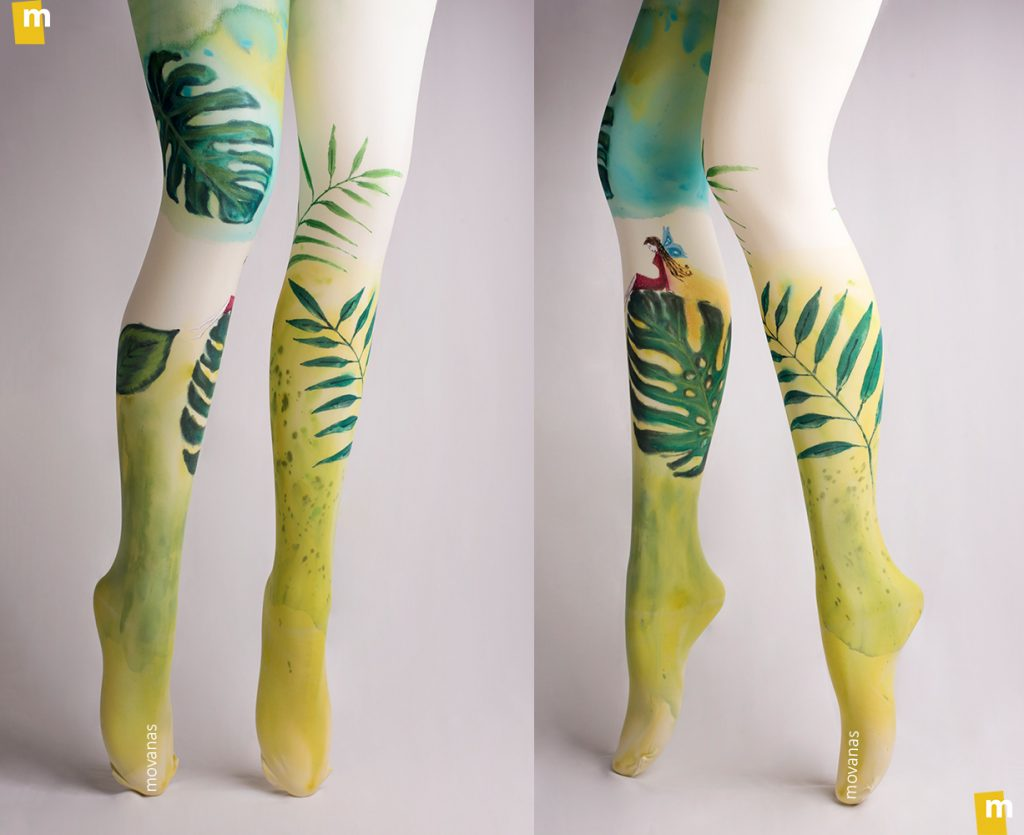 Botanical Handpainted Tights