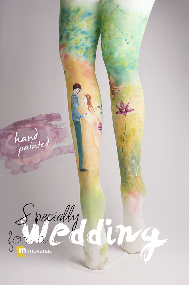 Handpainted Tights for Wedding