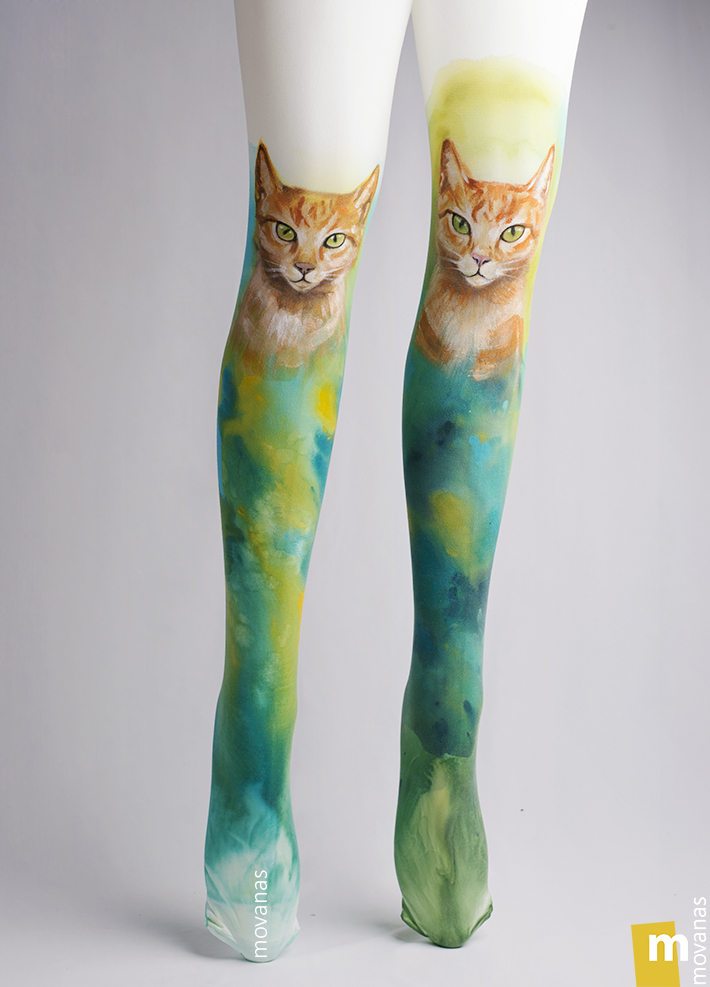 Yellow Cats Handpainted Tights